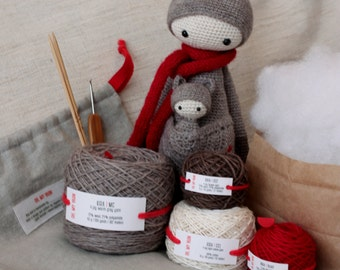 Lalylala KIRA the Kangaroo,  DIY Lalylala KIRA Crochet kit, amigurumi kit, Crocheter Gift, Kit set, Material set, Kit, Crochet Doll Kit