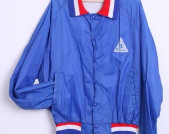 80's Champion Mens XL Jacket Bomber Navy Blue Nylon Sport Retro Tracksuit 80s