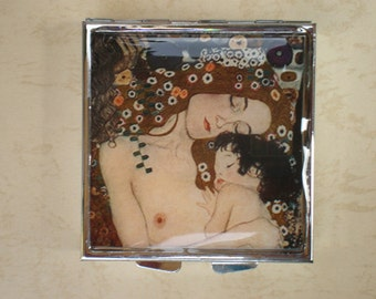 Pill box - Pill container - Mint case - Art pill box - Gustav Klimt art - The Mother and Child - Klimt box