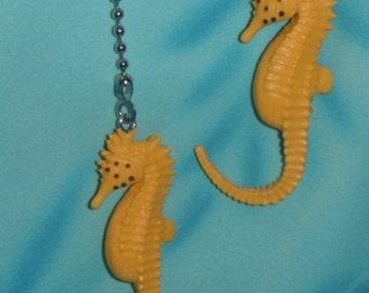 Set of Two ~ Glow-in-the-Dark Seahorse Yellow Ocean Sea ~ Ceiling Fan Pulls