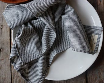 cloth napkins. dark gray pinstripes. set of 2 or 4. organic cotton + hemp. wabi sabi linen. zero waste kitchen. modern cloth napkins