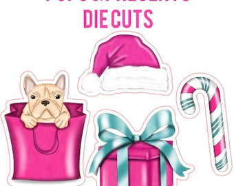 Pups & Presents Die Cuts | holidays, pink present, candy cane, Santa hat
