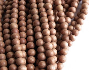 Wood Bead, Round 6mm, Rosewood - Ten 16 Inch Strands (WDRD-06RS)