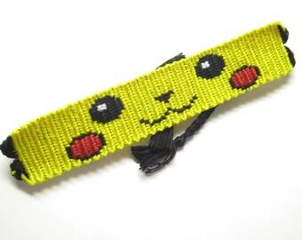 Pikachu Pokemon Go Bracelet, Pikachu Friendship Bracelet, Pokemon Kawaii Cute Bracelet, Macrame, Kanto Anime, Video Game, Nintendo, Geekery