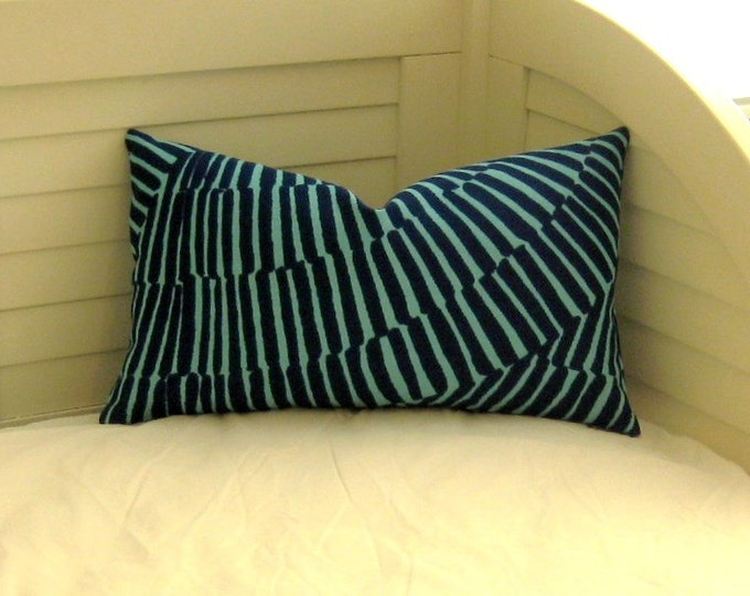 Trina Turk for Schumacher Sonriza in Marine/Pool (on Both Sides) Lumbar Pillow Cover
