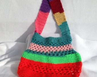Pocketbook, Market Bag, Crocheted Market Bag, Crocheted Pocketbook, Mulitcolor Bag, Tote, Crochted Tote, Multicolor Tote