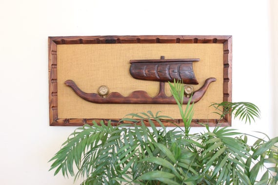 Large Mid Century Modern Witco Art Piece Tiki 3D Wood and