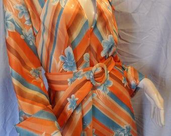 Vintage 1970s Belted Career Dress Floral Print Chevron Stripe L/40