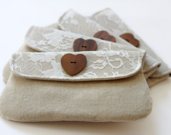 Bridesmaid clutch Linen and Lace set of 4, bridesmaid gift, linen clutch with heart shaped wooden button