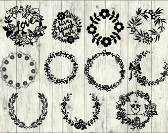 Wreath SVG Bundle, Flower SVG bundle, Wreath cut file, Wreath clipart, Wreath svg files for silhouette, files for cricut, svg, dxf, eps, png