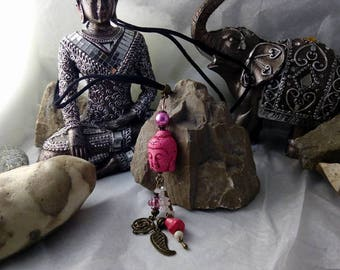 Necklace with suede cord and pink theme howlite Buddha pendant