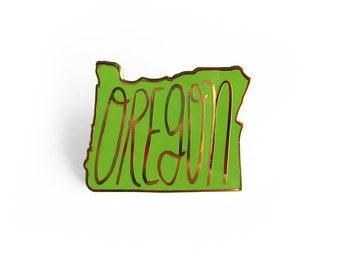 Oregon Enamel Pin - Oregon State Green Pin
