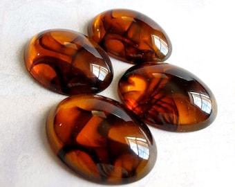 LOW Stock - Vintage Tortoise Shell Plastic Cabochons (6x) (CB505)