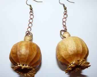 Rustic wood Earrings: poppy