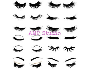 Eye lash bundle SVG DXF, cut file, cameo, Cricut, perfect for t shirts, make up bags, decals, cups, and more! eyelashes lashes beauty makeup