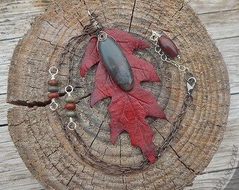 Scarlet Oak Leaf Leather Pendant with Gray Jasper and Sterling Silver - Wire Wrapped Mixed Media Pendant - Deep Red, Blackened Silver & Grey