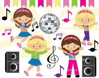 INSTANT DOWNLOAD. CD_2_Dance_party. Girl dance party clipart. Personal and commercial use.