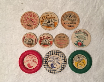 Vintage Lot of THREE Milk Bottle Caps and SEVEN Milk Bottle Tops - Dairy Farm Advertising