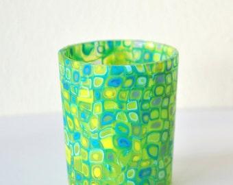 Candle holder, tealight holder, votive holder, polymer clay, tealight holder glass,clay, garden, home decor,