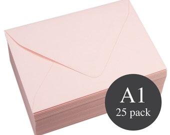 25 - A1 Matte Pink Euro Flap RSVP Envelopes - 3 5/8 x 5 1/8 - Rosa