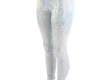 Frostbite Shattered Glass Hologram Holographic Holo High Waist Lycra Spandex Leggings - 154354