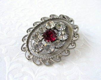 Vintage Big Rhinestone Bolo Tie Clip Red Clear Oval Filigree Silver Tone Metal Country Cowgirl Bride Costume Jewelry Wedding Bridal Formal