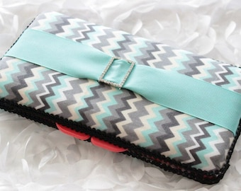 Gray and Teal Zig Zag With Ribbon and Rhinestone Buckle Travel Wipes Case