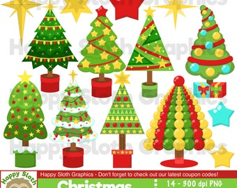 Christmas Tree clipart set, personal and commercial use vector, Xmas Tree and star digital clip art set.