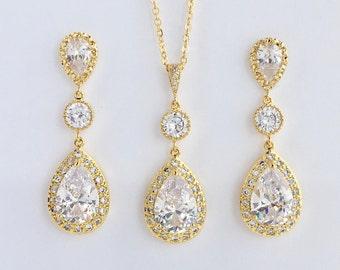 Gold Crystal Set Gold Bridal Cubic Zirconia Set Gold Wedding Teardrop Set Gold Bridesmaid Crystal Jewelry Set Gold Wedding Crystal Jewelry