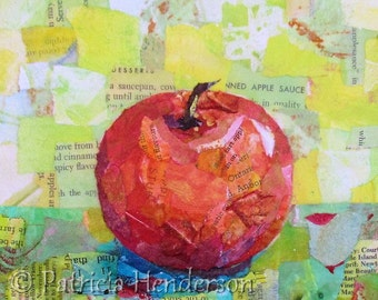 """PINK LADY Original Paper Collage Apple Painting 6 X 6"""" on Gallery wrapped canvas"""