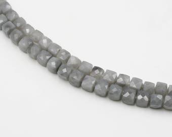 Grey Quartz Faceted Cube Beads