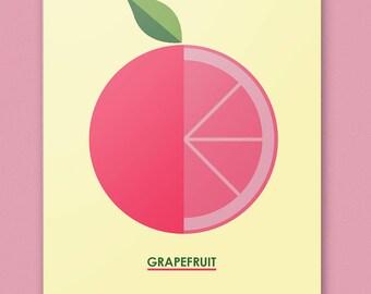 GRAPEFRUIT - 11 by 14 Fruity Art Print
