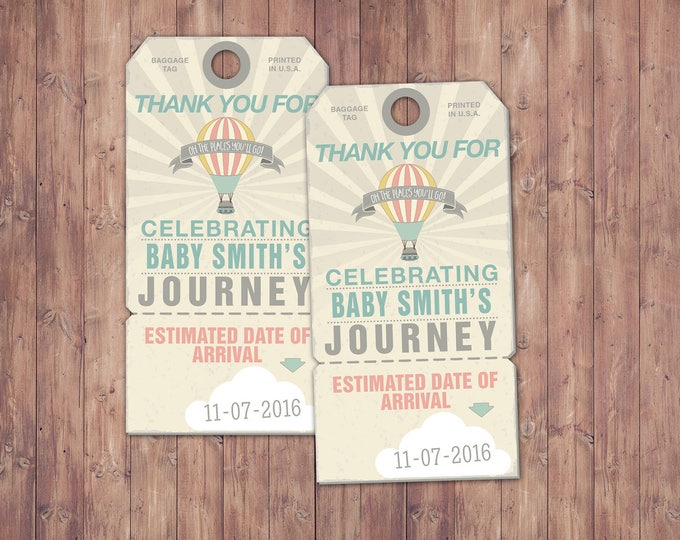 Oh the places you will go, luggage tag, favor tag ,birthday, travel, party favor, travel shower,vintage, baby shower, printable file