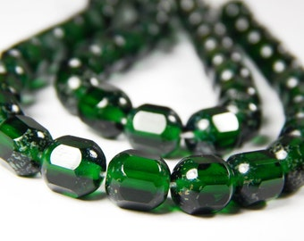 25 Pcs - 8mm Dark Green Czech Glass Cathedral Tube Beads - Stone Effect - Glass Beads - Jewelry Supplies
