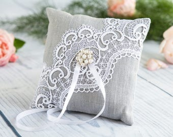 Wedding Ring Pillow, Ring Bearer Pillow , Lace ring pillow, Rustic Ring Pillow, Linen Ring Pillow