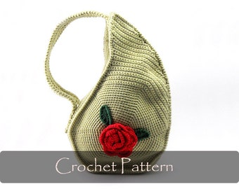 CROCHET PATTERN - Unique Teardrop Shape Bag Crochet Purse Pattern Unusual Crochet Handbag Pattern Flower Crochet Pattern PDF - P0013