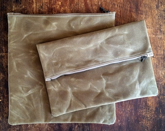 Waxed Canvas Zipper pouch, Foldover Clutch Purse Sand, Waxed Canvas Pouch, Waxed Canvas Bag, Large Pouch, Clutch, Travel Pouch