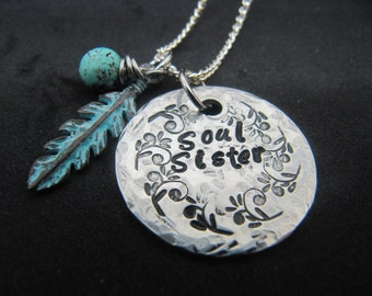 Soul Sisters necklace, hand stamped Soul Sisters necklace, Soul sister gift, gift for friend, Best friend gift, jewelry,necklaces, BFF gift
