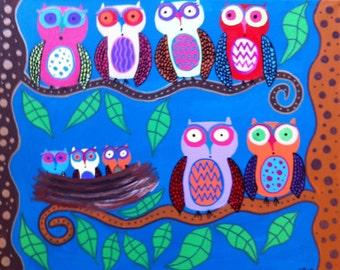 Ambrosino mexican folk Art PRINT Baby Owls trees nest  family