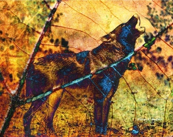 Howling Wolf Art, Native American Totem Animal, Digital Photomontage, Southwestern Wildlife, Wall Hanging, Home Decor, Giclee Print, 8 x 10