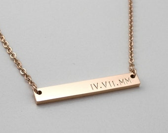 Roman numeral Necklace - Personalized Bar Necklace - Custom Name Necklace - Bridesmaid Necklace - Gift For Her - Girlfriend Gift - Rose Gold
