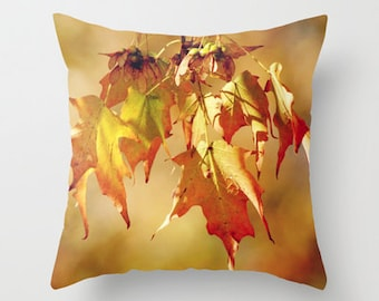 Throw Pillow Cover Autumn Leaves Orange Brown Yellow Fall Rustic Earthy Livingroom Couch Sofa Bed Photo Case Home Bedroom Decor