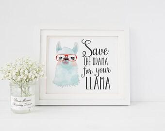 Enregistrer le drame pour votre Lama Lama pépinière Decor Lama Art Print lunettes lunettes alpaga alpaga Art Print pépinière Art Print Home Decor