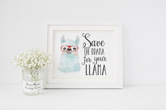 Save The Drama For Your Llama Nursery Decor Llama Art Print