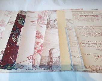 Bundle of 10 vintage style craft Sheets. Pink and cream selection.  Perfect for paper craft, scrap booking and card making