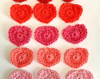 18 Cotton CrochetHearts, Variety of Colors,  Cotton Crochet Hearts, Heart Appliqués, Scrapbook, Barrettes, Jewelry, art projects