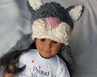 Hand gebreide American Girl pop hoeden met oorkleppen en kwastjes - jurk als uw Doll bijpassende hoeden
