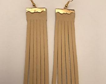 Cream Leather Tassle Earrings