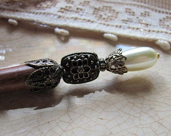 Renaissance Pearl Beaded Wood Hair Stick or Shawl Pin