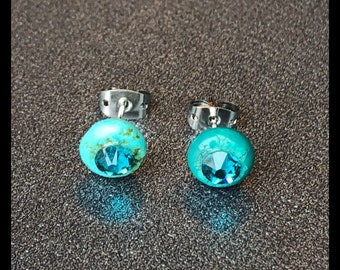 Turquoise Gemstones and Swarovski Crystal Studs